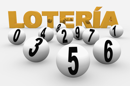 lottery win: lottery balls numbered from 0 to 9. Loteria nacional. National lottery
