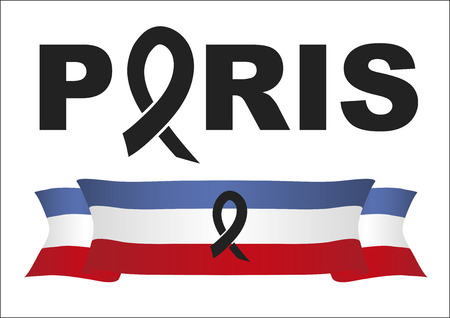 victims: French flag  with a black ribbon in commemoration of the victims of the Paris terrorist attack