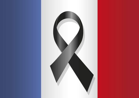 commemoration: French flag  with a black ribbon in commemoration of the victims of the Paris terrorist attack