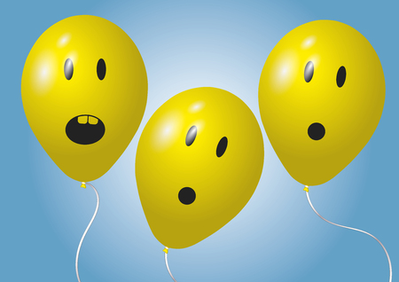 in amazement: Three surprised yellow balloons over a blue background