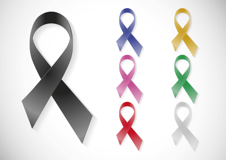 awareness ribbons: Assorted coloured ribbons to support diverse causes. Awareness symbols Illustration