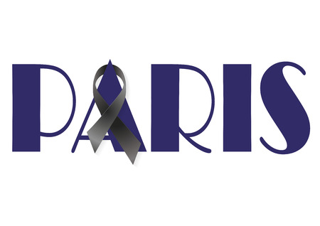 massacre: Paris with a black ribbon for terrorist attack