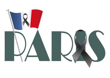 massacre: French flag and Paris with a black ribbon