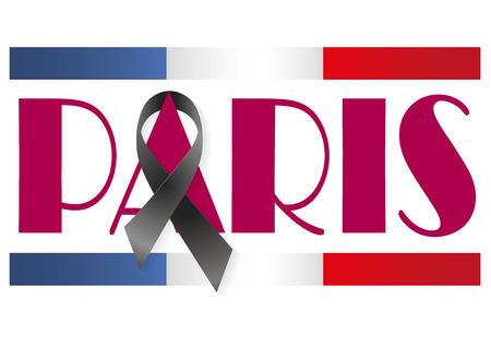 massacre: Paris with a black ribbon for terrorist attack
