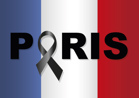 commemoration: French flag with a black ribbon in commemoration of the victims of the Paris terrorist attack Illustration