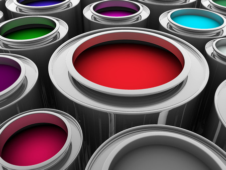 colours tints: some paint buckets in different colors