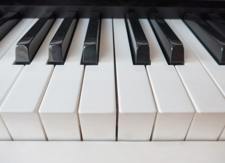 Detail of the keys in a piano keyboard
