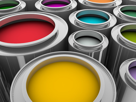 colours tints: metallic cans with inks in diverse colors Stock Photo