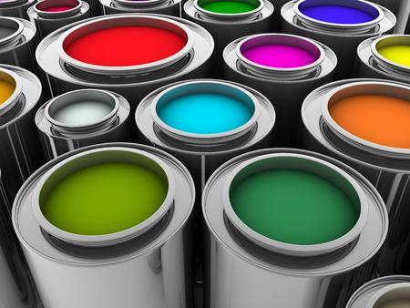 colours tints: some paint cans in different colors
