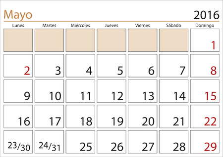 weekly planner: May month in a year 2016 calendar in spanish. Mayo 2016. Calendario 2016 Illustration