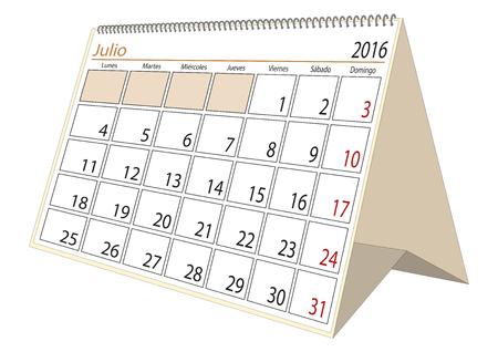 desk calendar: July sheet in an spanish desk Calendar for year 2016. Montly planner Illustration