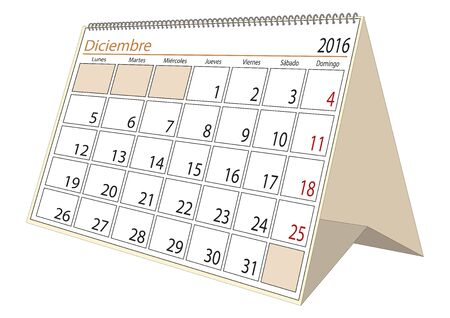 desk calendar: December sheet in an spanish desk Calendar for year 2016. Montly planner