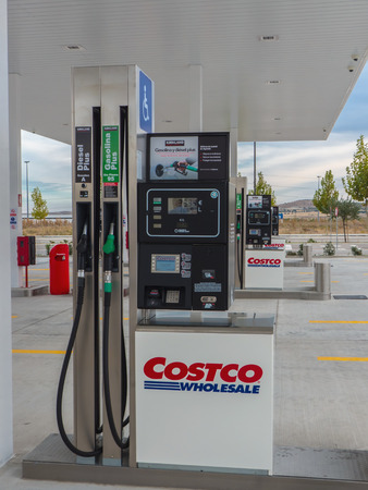 gas station: GETAFE, MADRID, SPAIN - OCTOBER 23, 2015: Costco Wholesale gas station in Getafe, Madrid, Spain. Costco operates a chain of membership warehouses, and this store is the second in Spain and Europe after Seville