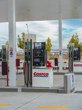unleaded: GETAFE, MADRID, SPAIN - OCTOBER 23, 2015: Costco Wholesale gas station in Getafe, Madrid, Spain. Costco operates a chain of membership warehouses, and this store is the second in Spain and Europe after Seville