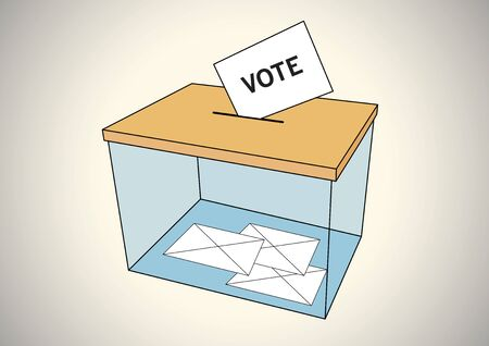 votes: Ballot box with some votes in envelopes Illustration