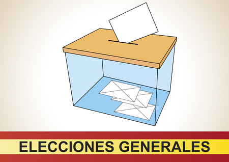 to designate: Ballot box with some votes in the spanish general elections. Elecciones generales Illustration