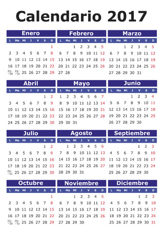 wednesday: 2017 vector calendar in Spanish. Easy for edit and apply. Calendario 2017 Illustration