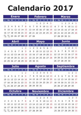 2017 vector calendar in Spanish. Easy for edit and apply. Calendario 2017 Illustration