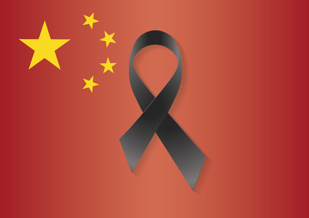 alertness: China flag with a black ribbon to commemorate and mourn the victims