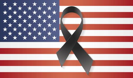 USA flag with a black ribbon to commemorate and mourn the victims and dead people. Sadness of United States of America Illustration