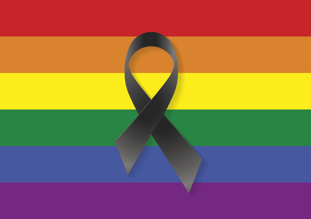 Gay and lesbian flag with a black ribbon to commemorate and mourn the dead people