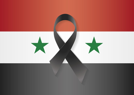 massacre: Syria flag with a black ribbon to commemorate and mourn the victims and dead people. Syria sadness
