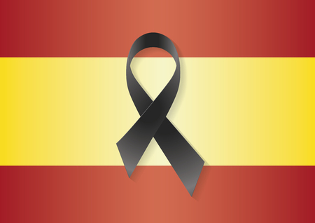 massacre: Spain flag with a black ribbon to commemorate and mourn the victims and dead people. Spain sadness
