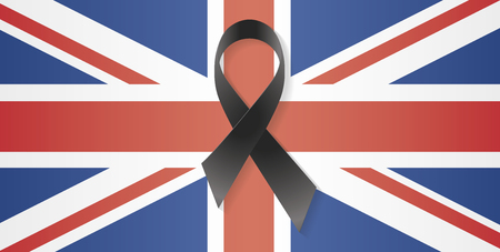 mourn: United Kingdom flag with a black ribbon to commemorate and mourn the victims and dead people. UK sadness.