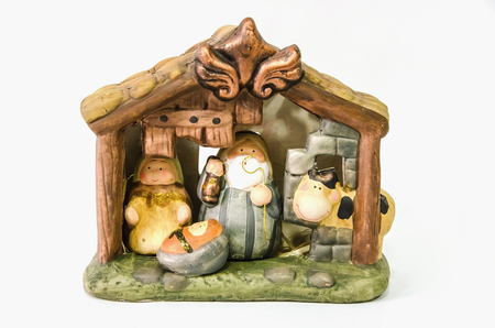 joseph: Decorative nativity scene with joseph, mary and jesus christ. Belen, nacimiento