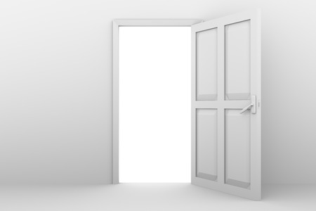 leaving: open door in white on a white wall