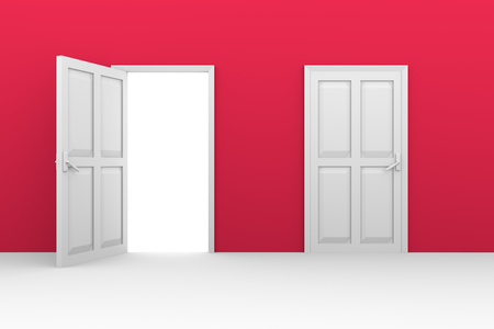 inside house: open and close doors in a red wall