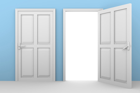 leaving: open and closed white doors on a blue wall