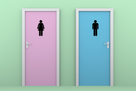 genders: toilet doors for boys and girls in pink and blue. Public wc Stock Photo