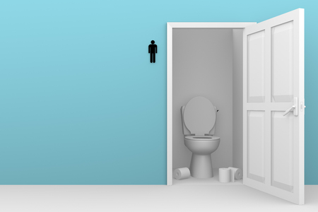 latrine: Male WC with an open door. Boys toilet in pink. Men restroom Stock Photo