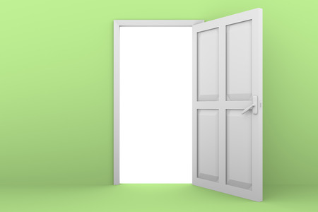 close: A white door open in a green wall. Exit concept