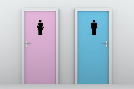 genders: toilet doors for boys and girls. Male and female pictograms