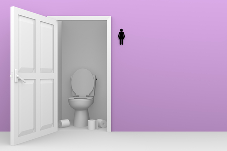 toilette: Female WC with an open door. Girls toilet in pink. Women restroom