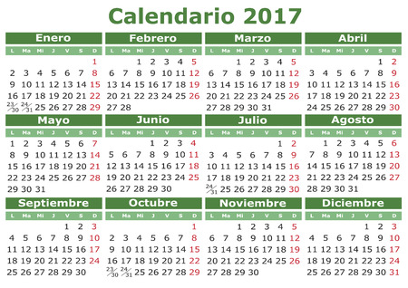 2017 vector calendar in Spanish. Easy for edit and apply. Calendario 2017 Vettoriali