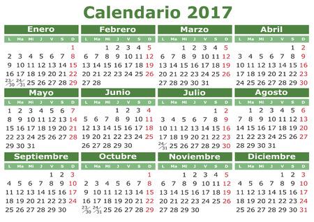 kalendarz: Wektor kalendarz 2017 w języku hiszpańskim. Łatwe do edycji i zastosowania. Calenda 2017 Ilustracja