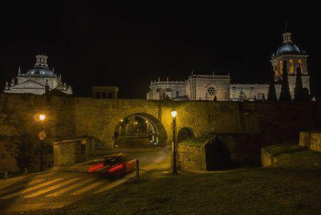castile: Night view of Ciudad Rodrigo. Salamanca, Castile and leon, Spain