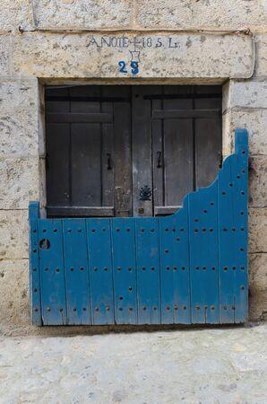castile and leon: Batipuerta painted in blue. Tipical door in Candelario, Salamanca, Castile and Leon, Spain