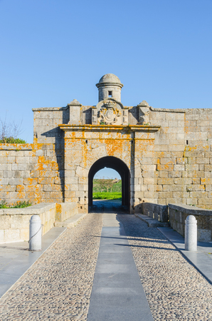 fortified wall: Gate in the wall. Fortified village of Almeida. Portugal