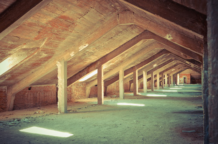 urban decay: Abandoned attic in an old building. Urban decay