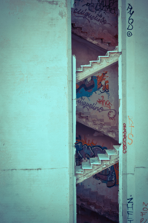 urban decay: Decayed stairs in an abandoned building. Urban decay