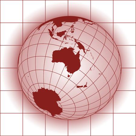 worldmap: Australia map. Asia, Russia, Antarctica, North pole. Earth globe.