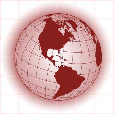 globo terraqueo: Mapa de América del Norte. Europa, Groenlandia, el Polo Norte, América del Sur. Globo de la tierra.