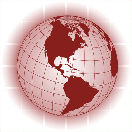 south pole: North America map. Europe, Greenland, North Pole, South America. Earth globe.
