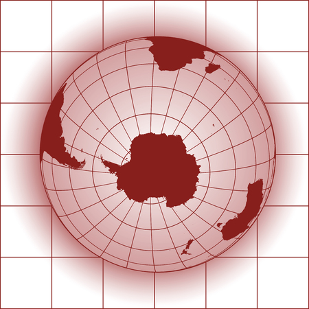 antarctic: Antarctica and South Pole map. Antarctica, Australia, America, Africa. Earth globe.