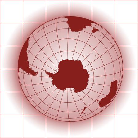 Antarctique et Pôle Sud carte. Antarctique, Australie, Amérique, Afrique. globe terrestre. Vecteurs
