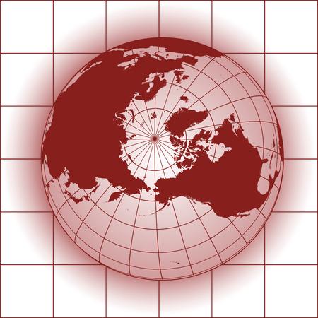 worldmap: North Pole map. Europe, Greenland, Asia, America, Russia. Earth globe. Illustration